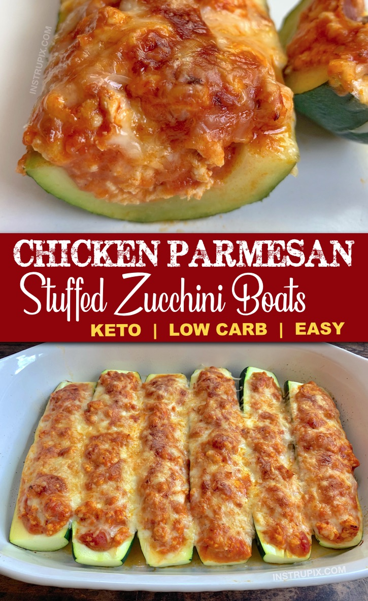 The BEST healthy low carb dinner recipe you'll ever make! Chicken Parmesan Stuffed Zucchini Boats Recipe -- made with just 5 simple ingredients including ground chicken for easy prep and clean up. This easy keto recipe is gluten-free, low carb, healthy and a family favorite. Even my kids love it. #lowcarb #keto #dinnerideas #zucchiniboats #instrupix