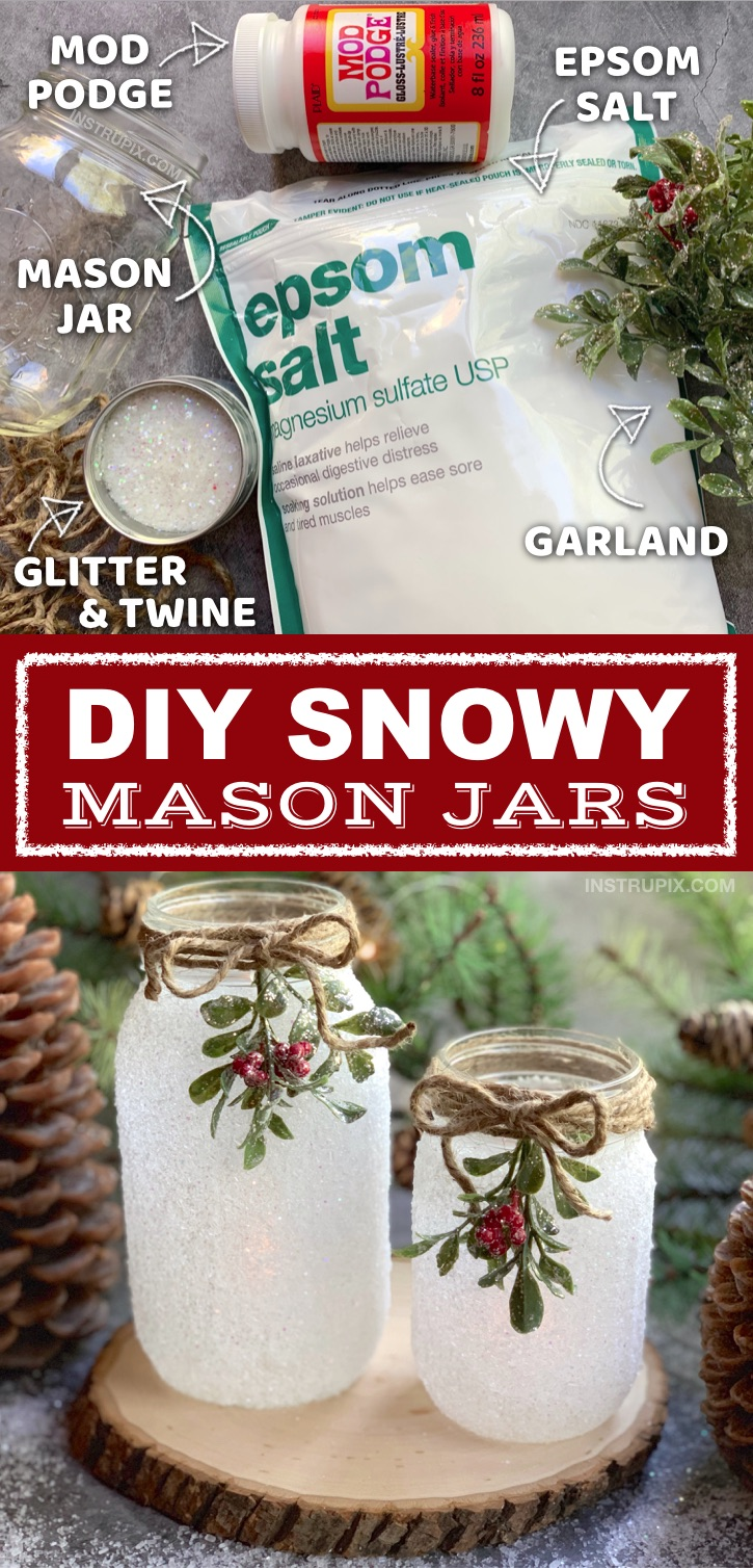 If you are looking for easy Christmas projects to make, these DIY Snowy Mason Jars are a fabulous gift idea! They're also pretty enough to sell. This easy craft is perfect for adults but also easy enough for kids. It's quick, simple, and cheap yet a stunning Christmas home decor idea! I use these DIY Christmas mason jars as a tea light holder centerpiece. #instrupix #christmas #masonjars