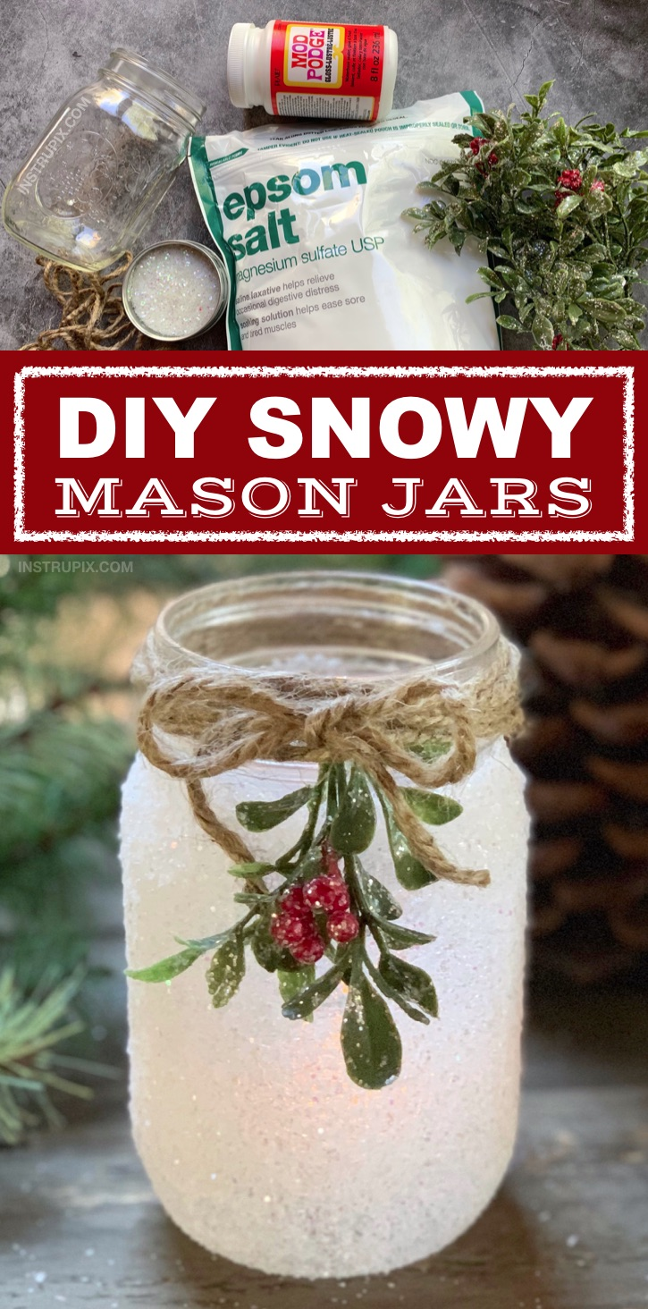 DIY Christmas Candle Holder Idea: Snowy Mason Jars -- If you are looking for fun and easy Christmas projects for adults, these simple tea light holders are the perfect gift idea for the holidays! They make for beautiful centerpieces, especially on a dining room table.