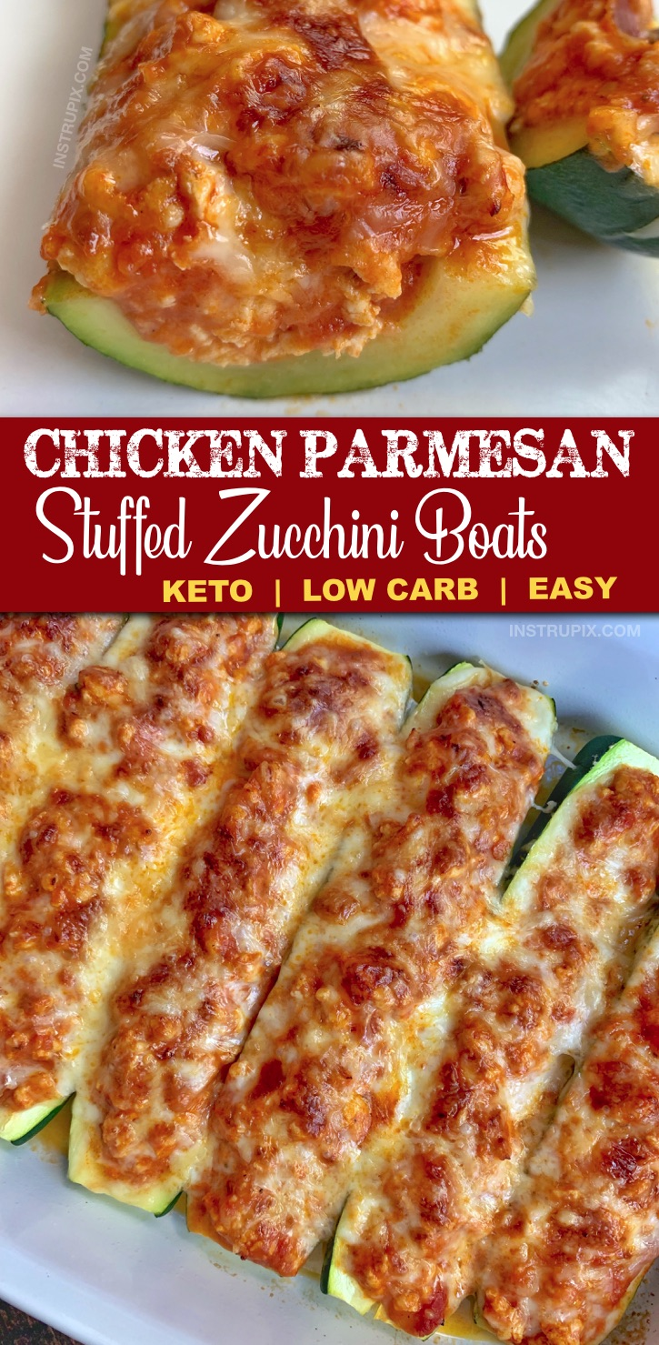 The BEST easy and healthy keto dinner recipe you'll ever make! Chicken Parmesan Stuffed Zucchini Boats Recipe -- made with just 5 simple ingredients including ground chicken for easy prep and clean up. This low carb family recipe is gluten-free, low carb, healthy and a family favorite. Even my kids love it. #lowcarb #keto #dinnerideas #zucchiniboats #instrupix