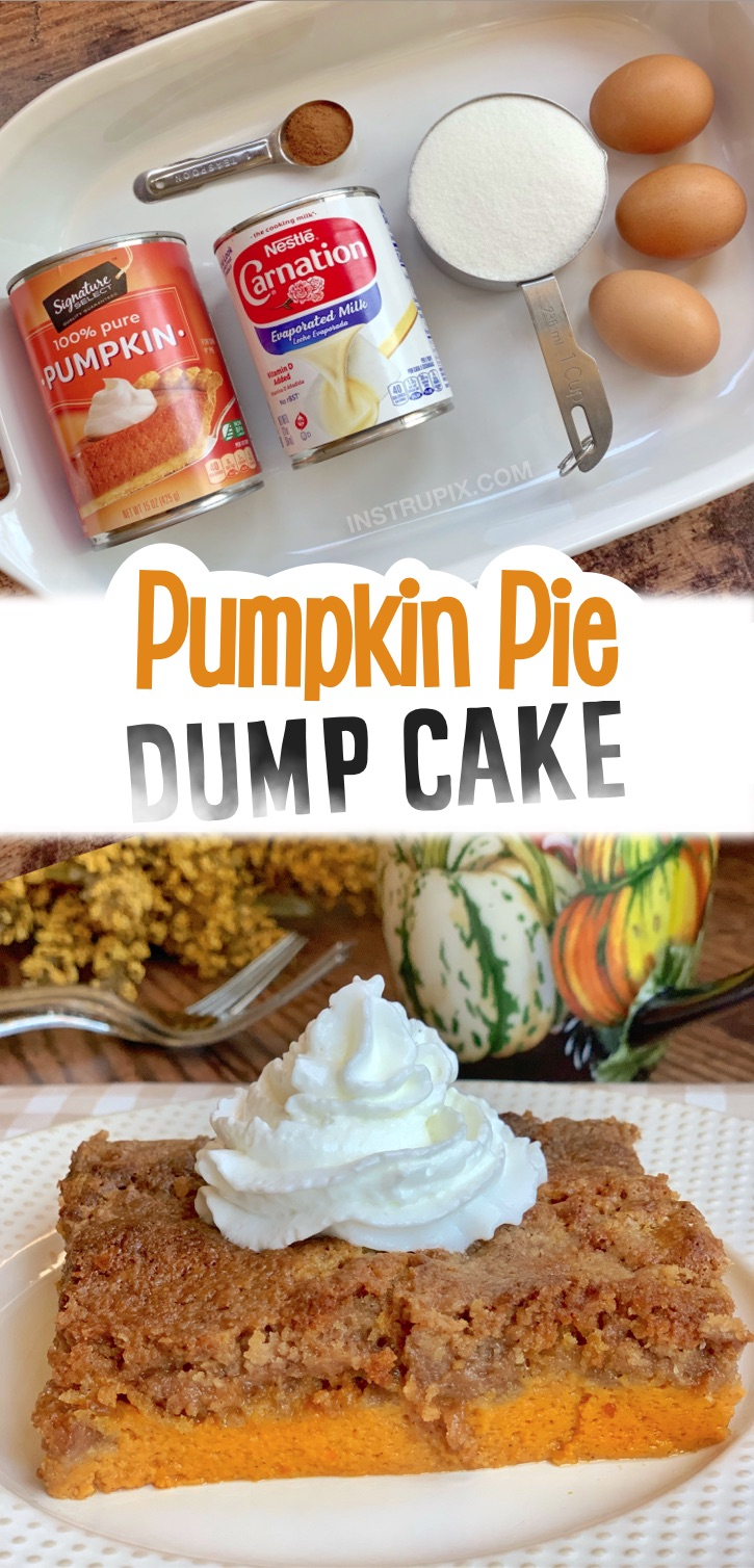 If you're looking for impressive Thanksgiving desserts that will feed your entire family, this pumpkin pie dump cake is so quick and easy to make with just a few cheap ingredients including boxed spice cake mix! It feeds quite a crowd. Serve with whipped cream or ice cream. It's so yummy, even the kids will devour it. The perfect pumpkin fall dessert recipe for Thanksgiving, Halloween or even Christmas. Anytime during the holidays! I love baking with cake mixes! Some simple to make.