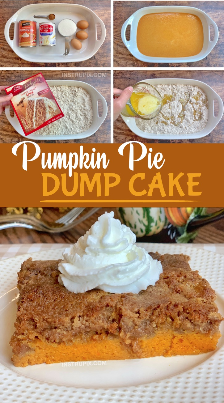 Easy Pumpkin Fall Dessert -- A quick and easy recipe for Thanksgiving! Pumpkin Pie Dump Cake. Made with simple ingredients including a box of spice cake mix. The entire family will love this creative dessert idea! #instrupix #pumpkin #falldesserts