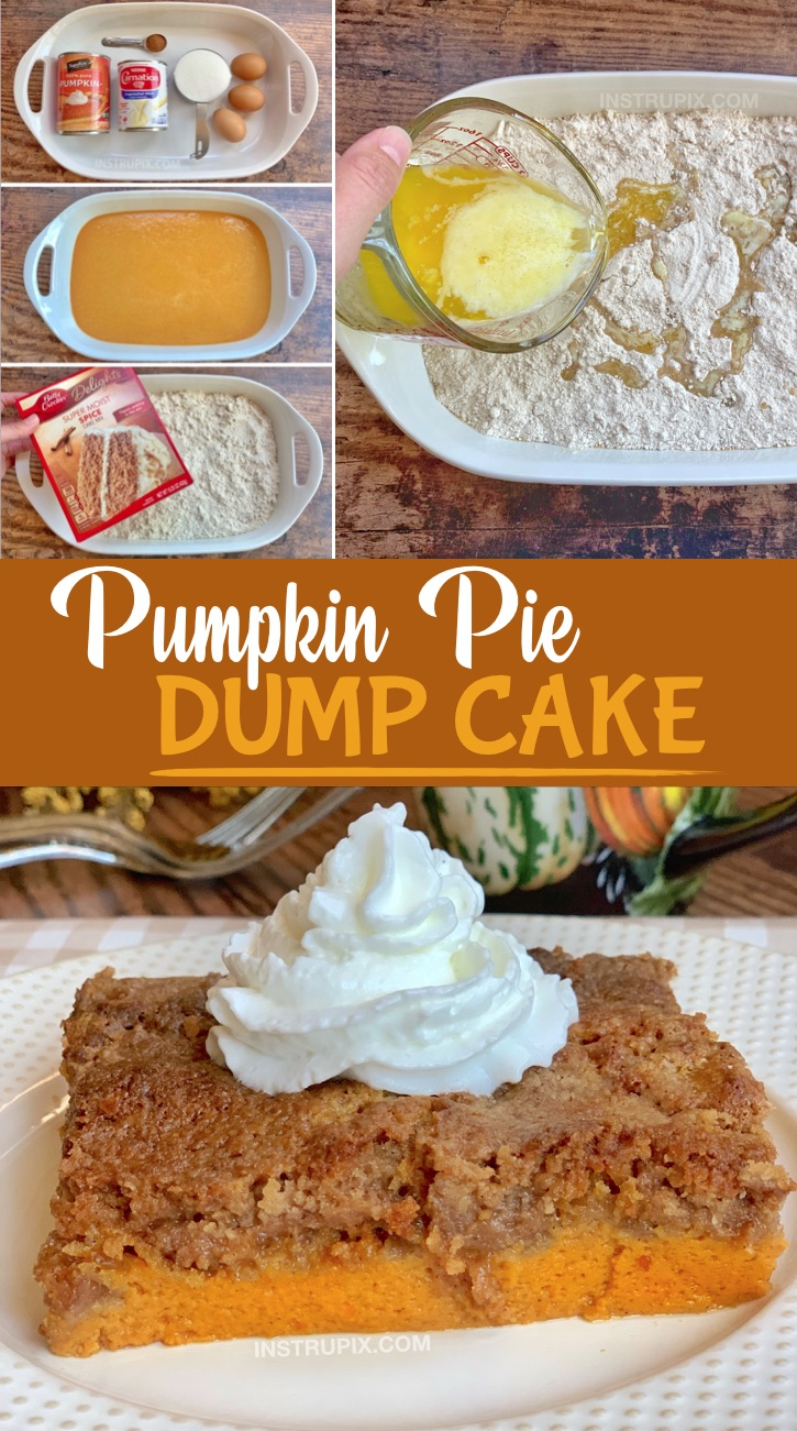 Easy Pumpkin Fall Dessert Idea -- A quick and simple recipe for Thanksgiving! Pumpkin Pie Dump Cake. Made with a box of spice cake mix. The entire family will love this fun and creative dessert! #instrupix #pumpkin #falldesserts