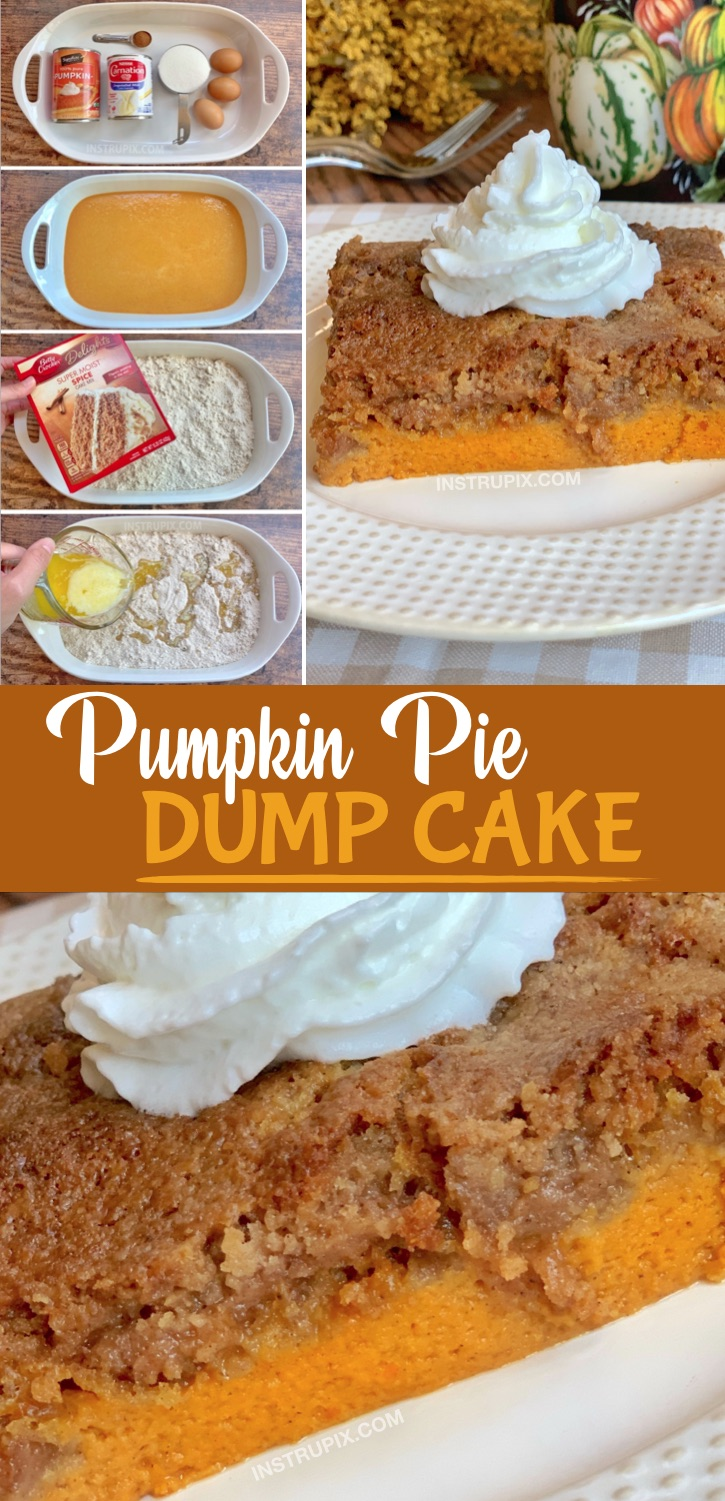 Easy Pumpkin Fall Dessert Idea -- A creative pumpkin recipe for Thanksgiving! Pumpkin Pie Dump Cake. Made with simple ingredients including a box of spice cake mix. The entire family will love this unique dessert! #instrupix #pumpkin #falldesserts