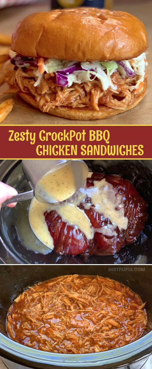 Easy Dinner Recipe For A Large Family: Crockpot BBQ Chicken Sandwiches-- these are the BEST! Made with just 5 ingredients and feeds 8-10 people. This slow cooker bbq chicken will soon be a family favorite. #instrupix