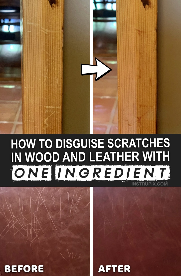 Useful Life Hack: How to removes scratches on wood and leather with one simple ingredient! This easy household tip works like a charm for furniture, cabinets and more. DIY Homemade Wood & Leather Scratch Repair #instrupix #lifehacks