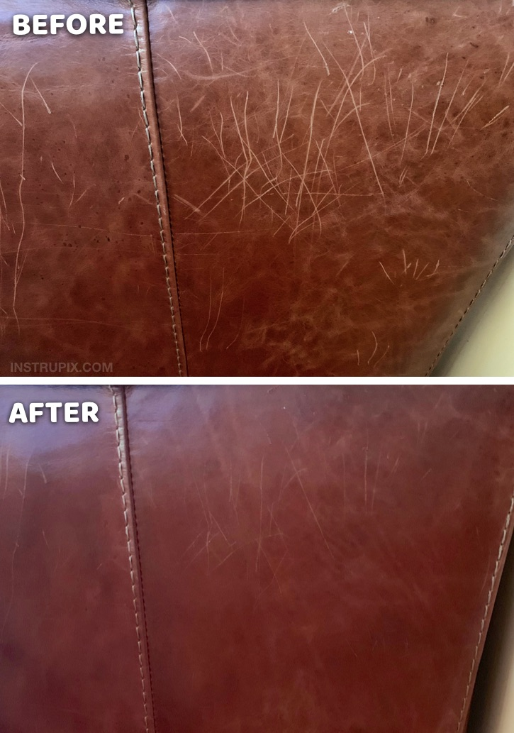 Useful Life Hack: How to removes scratches on leather furniture with one simple ingredient! This easy trick works like a charm. If you have cats, this tip will really come in handy! DIY Homemade Leather Scratch Repair #instrupix #lifehacks