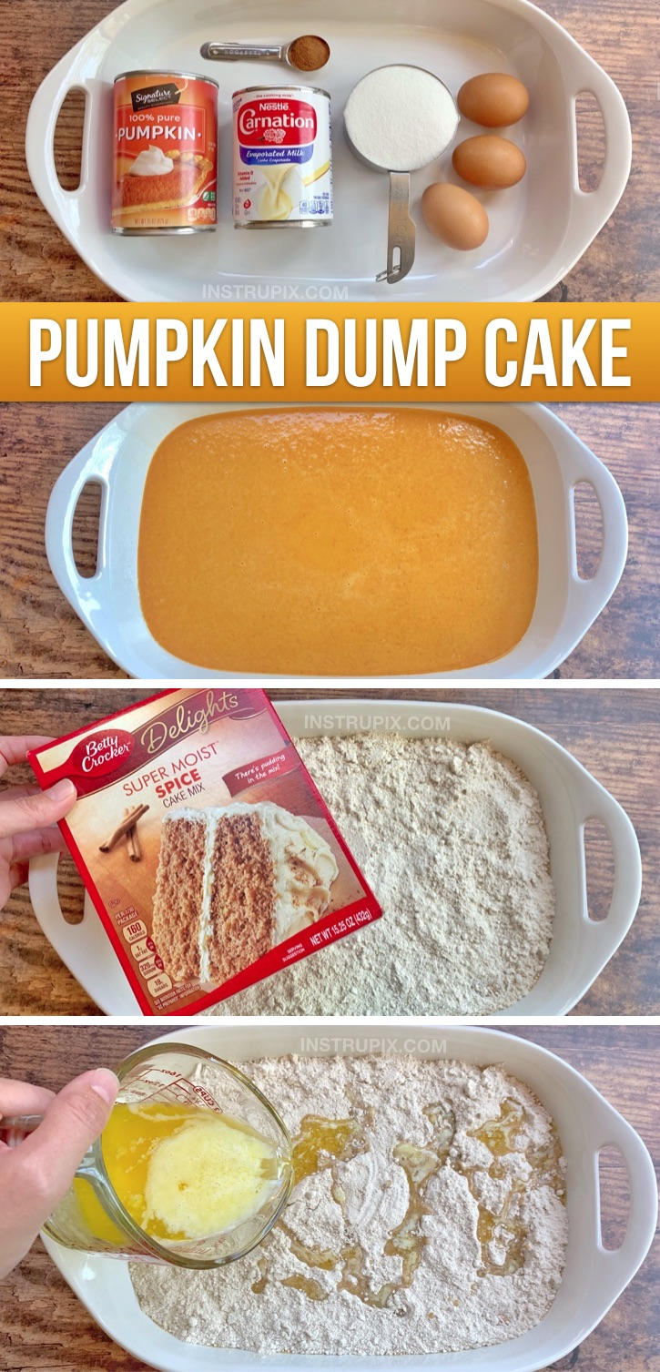 This easy fall dessert recipe is better than pumpkin pie! Dump cake is so quick and easy to throw together thanks to boxed cake mix, and is always a crowd pleaser. It's perfect for Thanksgiving, Halloween or any party or family get-together in the fall. This yummy pumpkin dessert is made with just a few simple ingredients and feeds a crowd. Serve it with whipped cream or ice cream! You simply mix the wet ingredients together, top with spice cake mix and melted butter. Bake and done! Delicious.