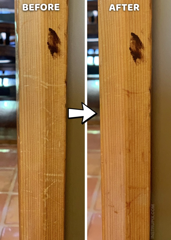 Useful Life Hack: How to removes scratches on wood with one simple ingredient! This easy household tip works like a charm for furniture, cabinets and more. DIY Homemade Wood Scratch Repair #instrupix #lifehacks