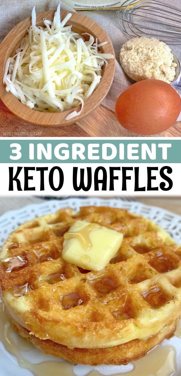 "Otherwise known as ""chaffles"", these 3 ingredient crispy keto waffles are absolutely Amazing!! If you're tired of eating eggs for breakfast, you are going to love this simple low carb breakfast made with just almond flour, cheese and egg. From there you can customize them. Perhaps add in a little cinnamon and swerve to make them sweet? Garlic powder and parmesan to make them savory? This is a versatile recipe and can be flavored any way you'd prefer. Simply make them in your mini waffle maker."