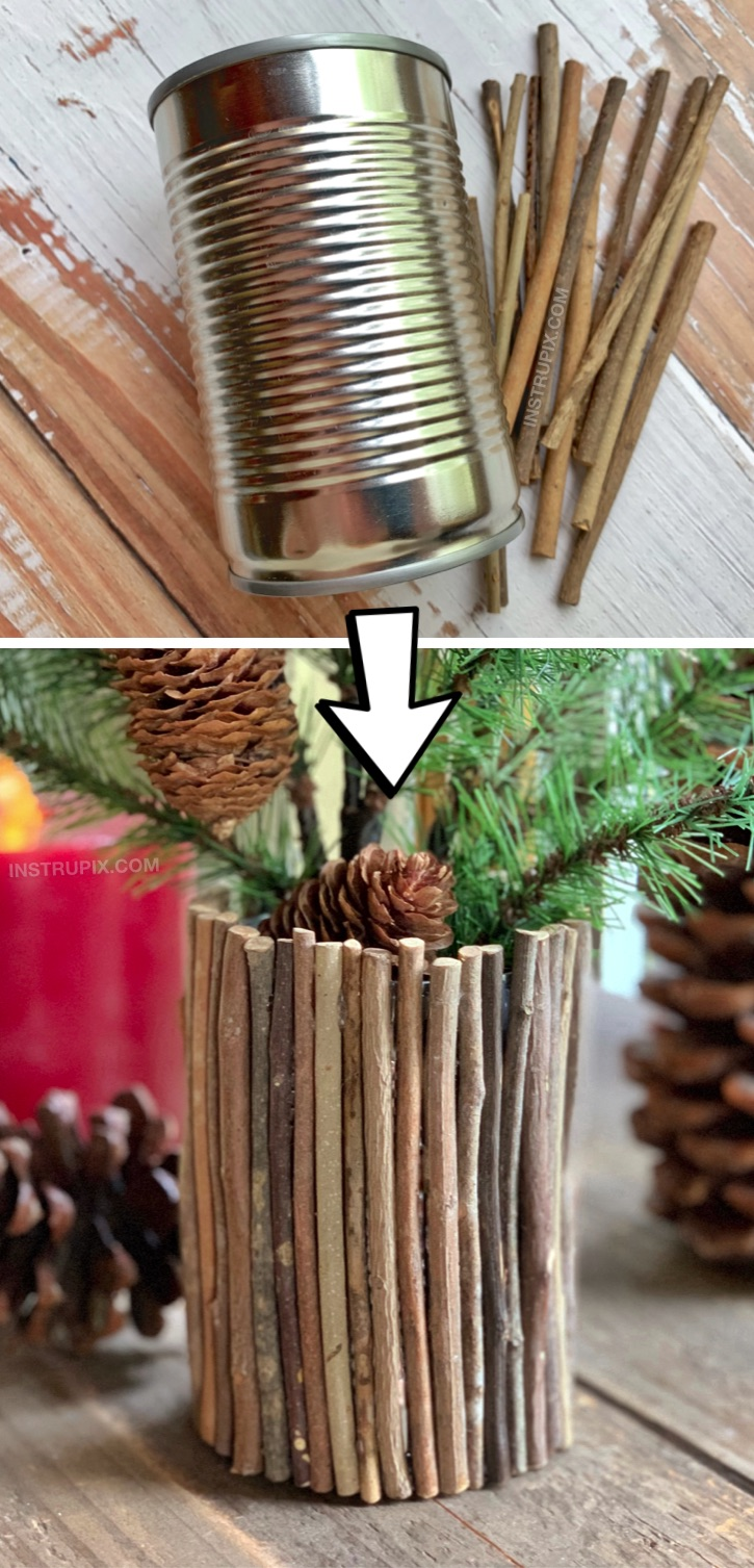 Cheap & Easy Upcycling Christmas Craft: DIY Rustic Vase made out of a tin can! Looking for upcycling crafts? There are so many ways to dress up a tin can! This cheap and easy project is great for kids and adults! Simply use sticks and hot glue to cover a tin can. #upcycling #recycling #easycrafts #instrupix