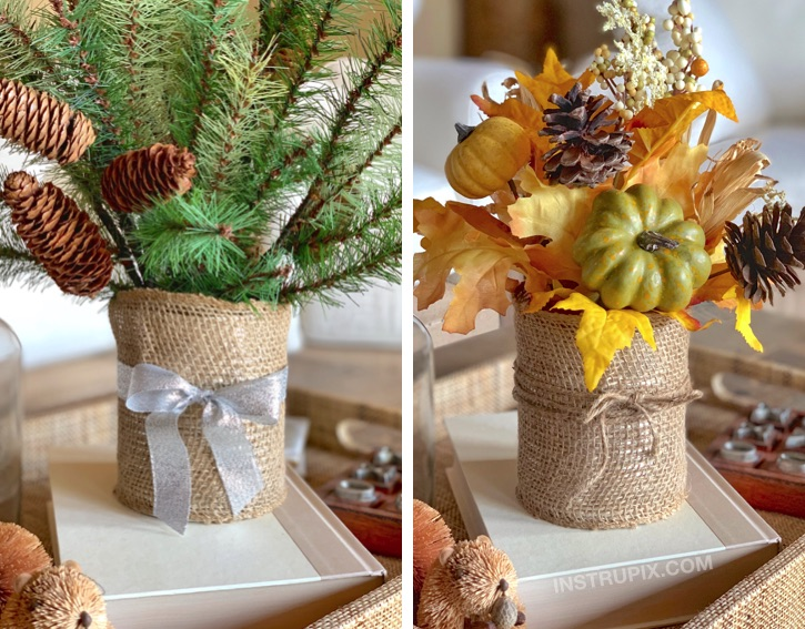 Burlap Coved Tin Can Makeover -- 6 easy ways to dress up a tin can. These are beautiful for holiday displays! A cheap and easy DIY craft idea that anyone can make.