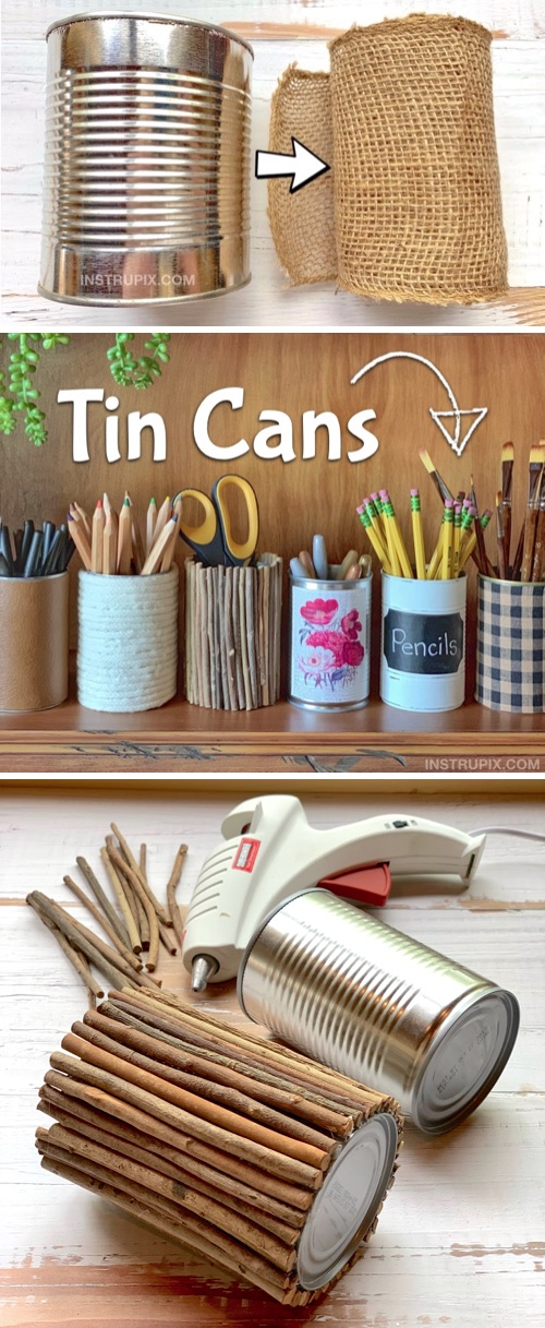 Looking for DIY craft ideas for adults or teenagers? This do it yourself project is cheap, easy and great for room decor and office or craft room organization. Lots of brilliant tin can craft ideas! This is a great hobby and stress reliever. They also make for beautiful DIY gifts for teachers, friends and family. Upcycling doesn't get any more budget friendly than this! Simply cover a tin can with items you already have at home to make repurposed attractive containers for the home. Pretty enough to sell!