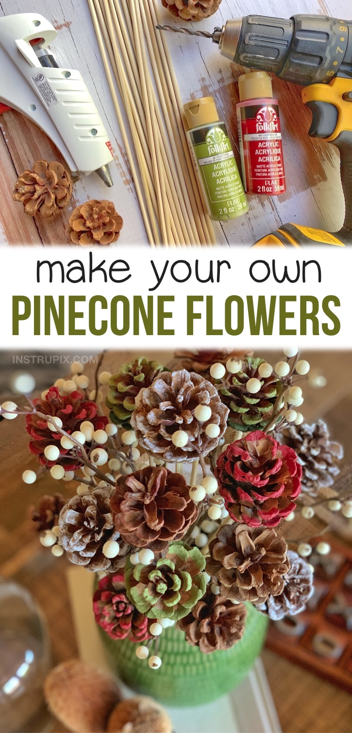DIY holiday home decor on a budget! This easy craft project is so fun to make for just about any occasion. Pinecones make for beautiful rustic home decorations for Christmas, Thanksgiving, Halloween or any theme. Just paint them with your desired colors! You can also simply add them to a vase of flowers. A fabulous Christmas craft for adults to make with just pinecones and skewers. So cheap! If you're looking for DIY pinecone crafts, you have to try these easy painted flowers. #crafts #instrupix