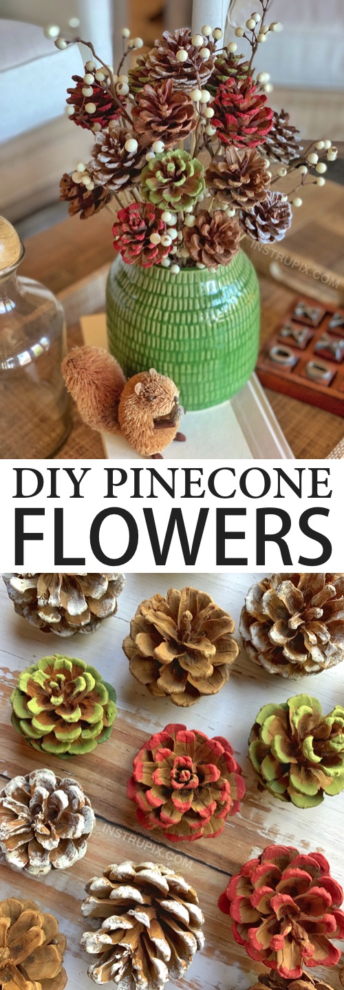 Looking for DIY pinecone crafts to make? Check out how to make these easy pinecone flowers with stems! They look beautiful with a little paint in a vase for fall, Christmas or any occasion. A gorgeous centerpiece idea for the holidays! This simple tutorial will show you how to easily make them with a drill, hot glue and wooden skewers. | Instrupix.com #instrupix