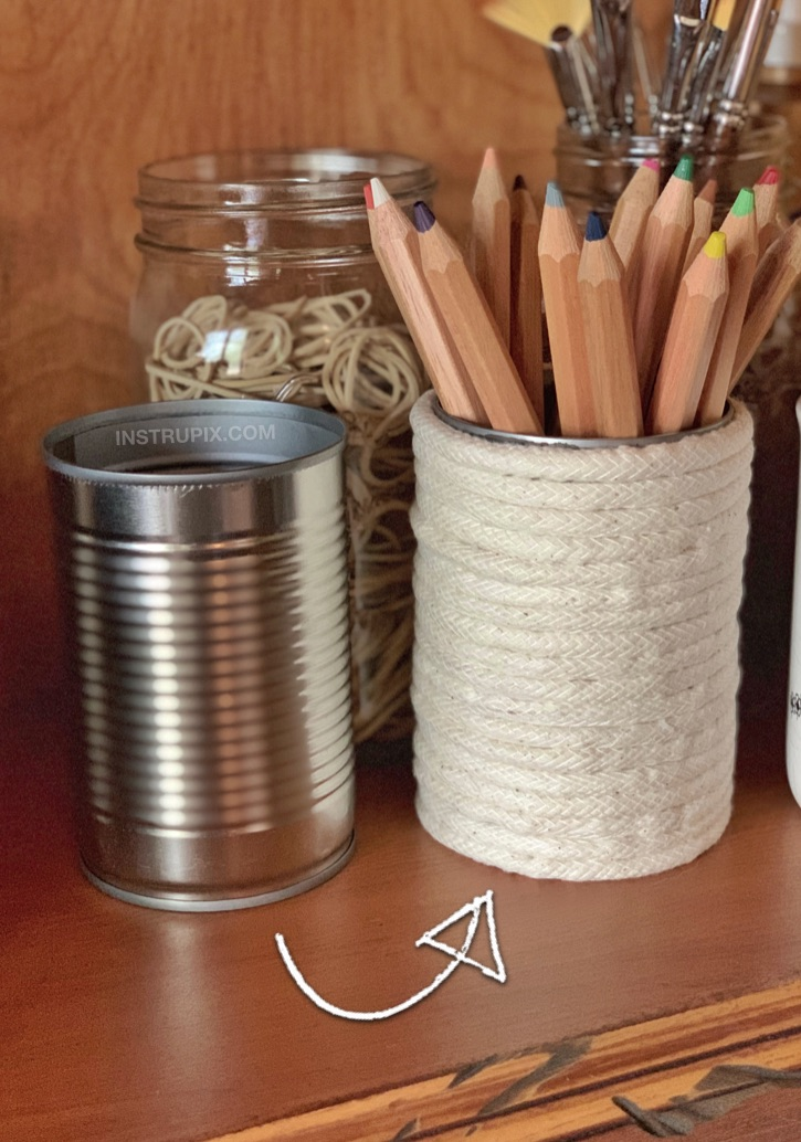 DIY Tin Can Crafts -- Rope covered tin cans! Beautiful for displaying office, craft and makeup supplies. This cheap and easy craft idea is a great project for both kids and adults!
