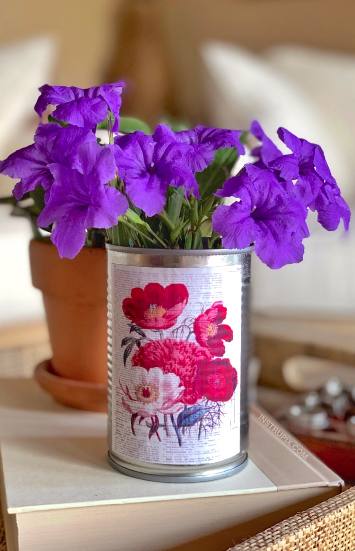 6 Easy Ways To Dress Up A Tin Can -- using paper print outs and mod podge!