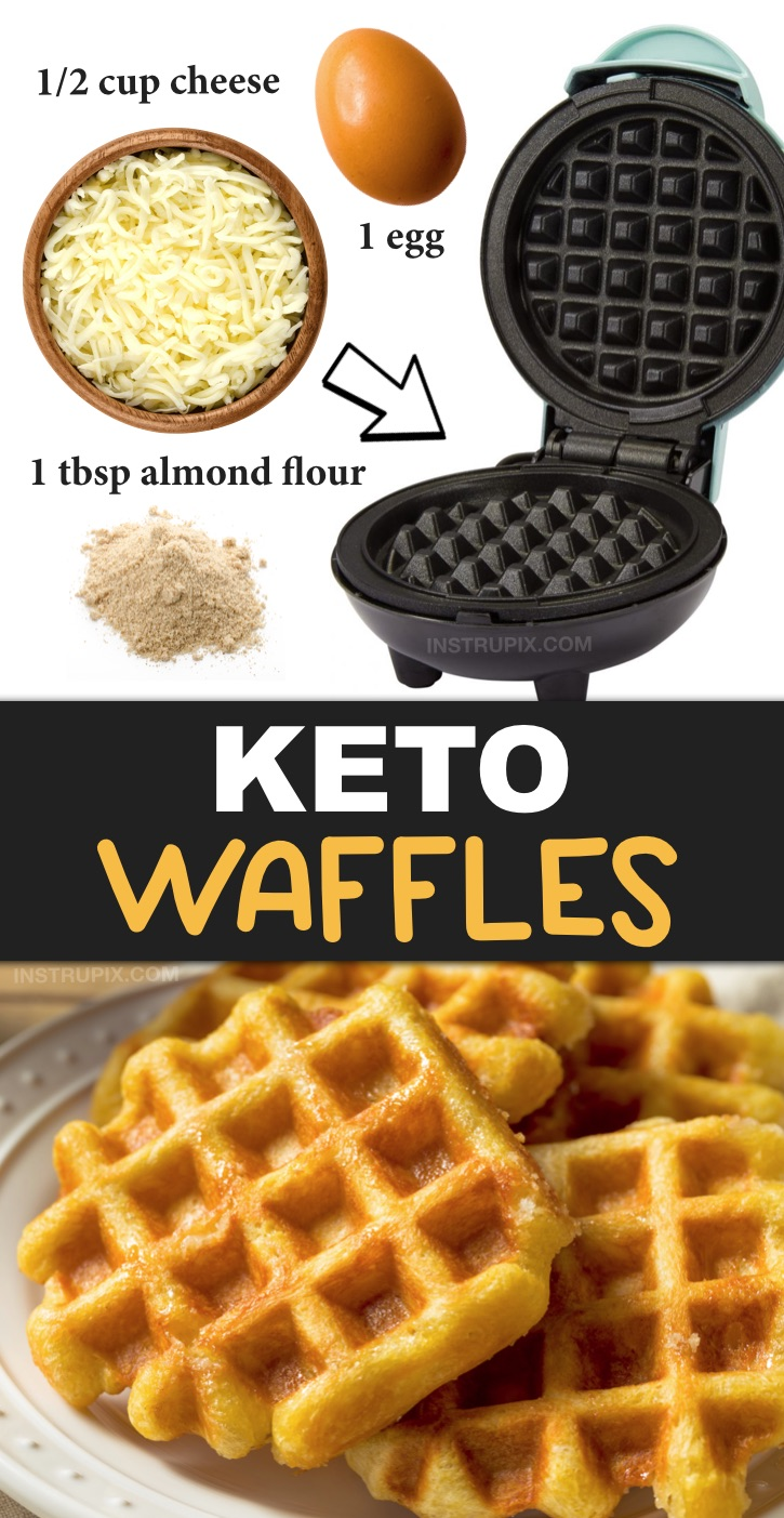 Easy Keto Waffles (also known as chaffles) made with almond flour or coconut flour. Just 3 ingredients! This quick and easy keto breakfast idea is soon going to be your new favorite! It's simple, low carb, ketogenic friendly, grain free, gluten free and super delish! It can be eaten as bread with a sandwich or as traditional waffles for breakfast. Yum! #keto #lowcarb #instrupix