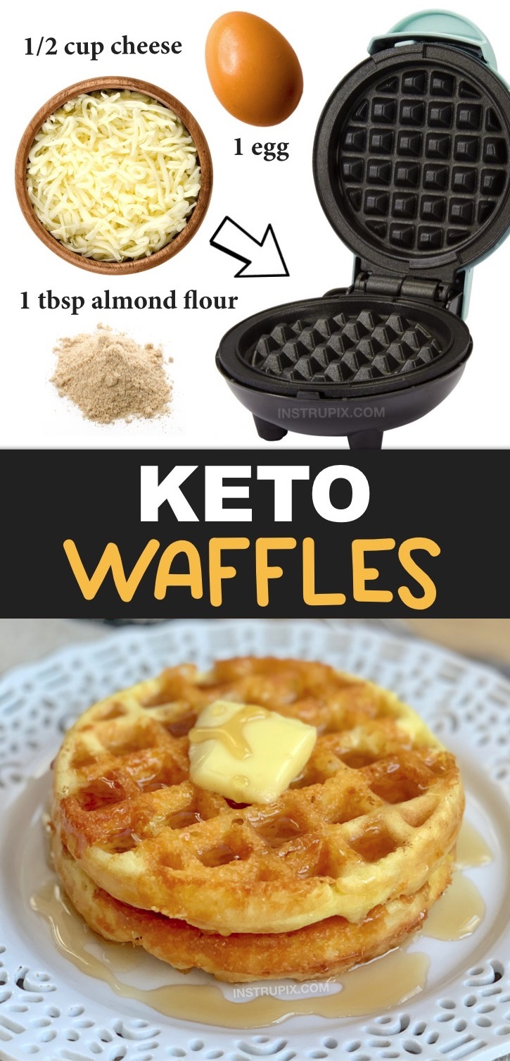 Easy Keto Waffles (also known as chaffles) made with almond flour or coconut flour, an egg and shredded cheese. Just 3 ingredients! This quick and easy keto breakfast idea is soon going to be your new favorite low carb breakfast! It's simple, low carb, ketogenic friendly, grain free, gluten free and super delish! It can be eaten as bread with a sandwich or as traditional waffles for breakfast. Yum! #keto #lowcarb #instrupix