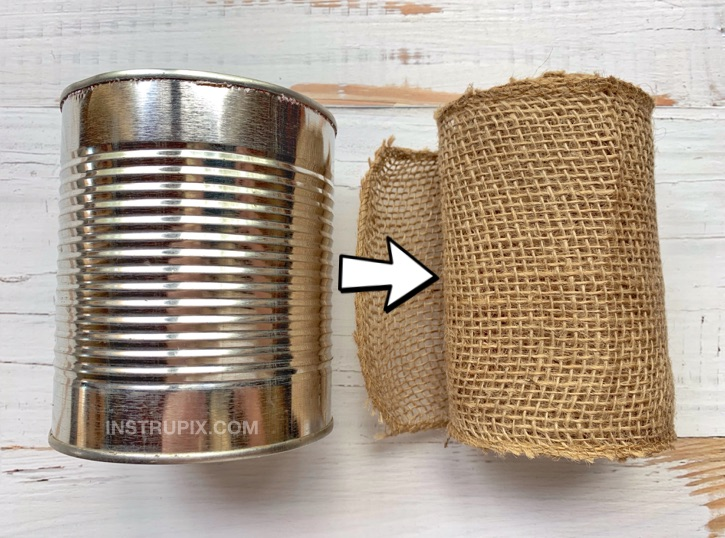 Tin Can and Burlap Makeover