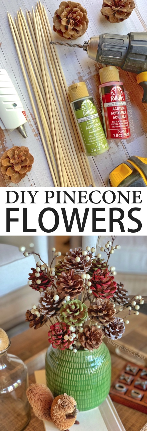 Looking for DIY pinecone crafts to make? Learn how to make these easy painted pinecone flowers with skewer stems! They look charming in a vase for fall, Christmas or any occasion. A beautiful centerpiece idea! This simple tutorial will show you how to easily make a pine cone bouquet with a drill, hot glue and wooden skewers. | Instrupix.com #instrupix