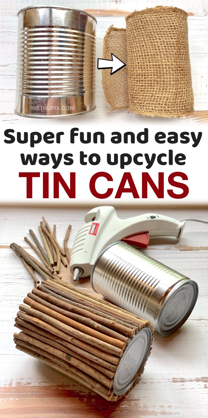 Cheap & Fun Ways To Upcycle And Repurpose Tin Cans | These easy tin can crafts are pefect for storing and organizing your home! Everything from office and craft supplies to bathroom toiletries. I love projects like this that don't require spending a dime. You can cover a tin can in just about anything from fabric to sticks to make impressive and gorgeous containers. I also like to use them to display holiday garland and flowers. There are so many uses for these cans! A great way to recycle.
