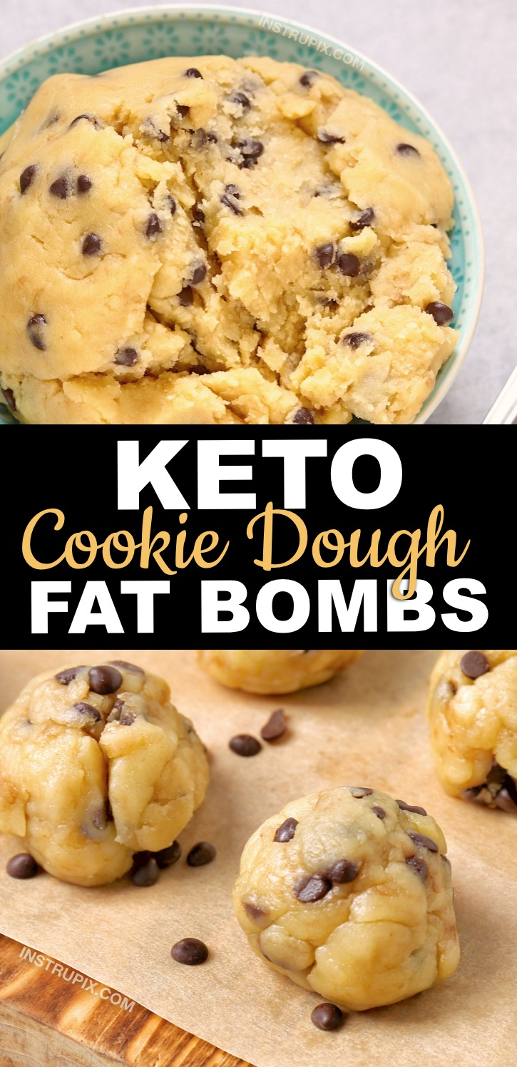 Keto Cookie Dough Fat Bombs Recipe made with cream cheese, peanut butter, butter, vanilla and swerve. So simple! -- Are you looking for quick and easy keto dessert recipes? These simple low carb fat bombs are IRRESISTIBLE! Because they are stored in the freezer, they last a long time. They're diabetic friendly, free of flour and sugar, but high in fat! Perfect for a ketogenic diet. #instrupix #keto #lowcarb #fatbombs
