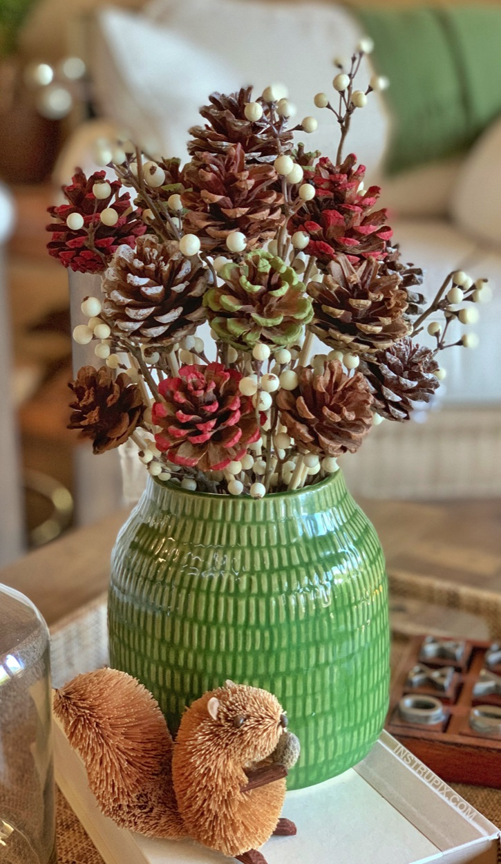 Easy DIY Painted Pinecone Flowers With Stems -- a simple tutorial on how to make them! They're a charming centerpiece idea for fall, Christmas or any occasion. A simple craft for adults!