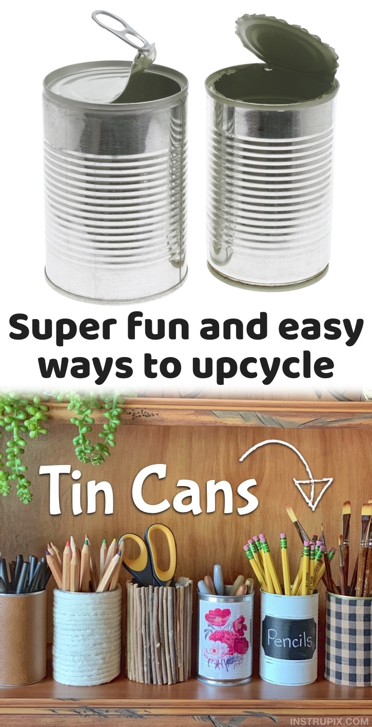 A cheap & fun way to upcycle and repurpose! If you're looking for fun and easy recycled craft ideas, try adding some personality to simple old TIN CANS! You would never guess that these beautiful and unique containers were made out of soup cans that would normally end up in the trash. These tin can recycled projects can be used for home and office organization, pretty table displays, holiday garland, makeup brush holders, or anything else around the house you want to keep organized.