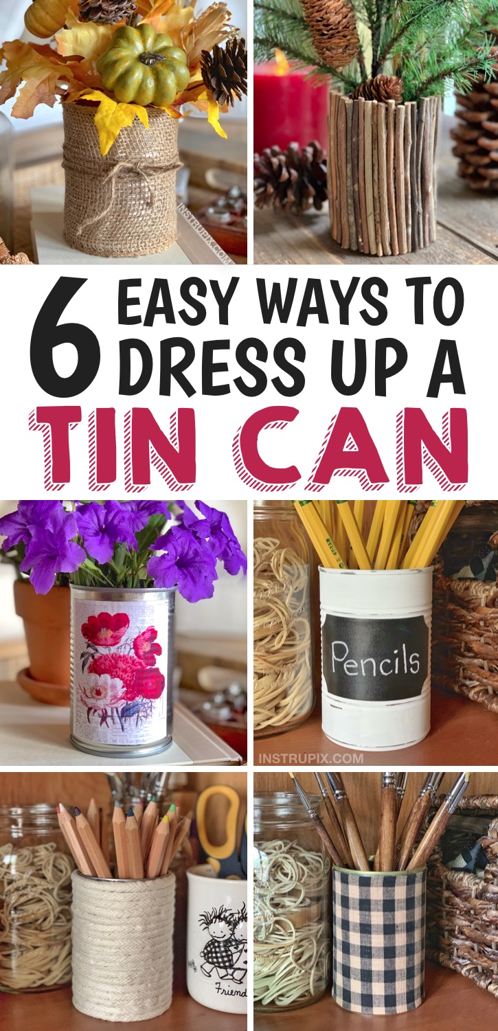 DIY Tin Can Upcycle Projects -- a quick and easy craft idea anyone can make! Great for home decor, home organization and more! #tincancrafts #easycrafts #instrupix