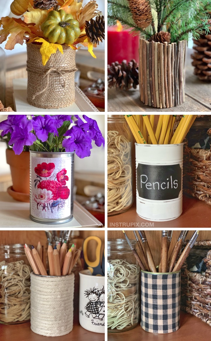 6 Easy Ways To Dress Up A Tin Can -- A fun, easy and cheap craft idea! These are great for DIY home organization, holiday displays, vases, make up brushes and more! Recycling and Upcycling Ideas That Don't Suck