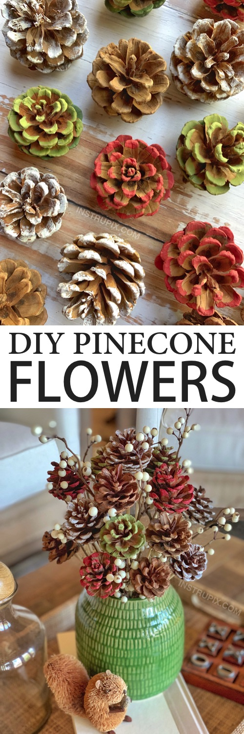 DIY Pine Cone Craft To Make: Check out how to make these easy painted pinecone flowers with stems! They look charming in a vase for Christmas, fall or any occasion. A gorgeous centerpiece idea! This simple tutorial will show you how to easily make them with a drill, hot glue and wooden skewers. | Instrupix.com #instrupix