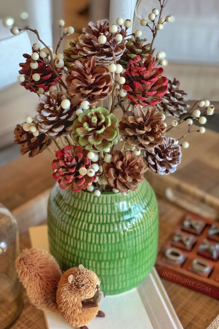 Craft Idea For Adults Easy Diy Pinecone Flowers With Stems