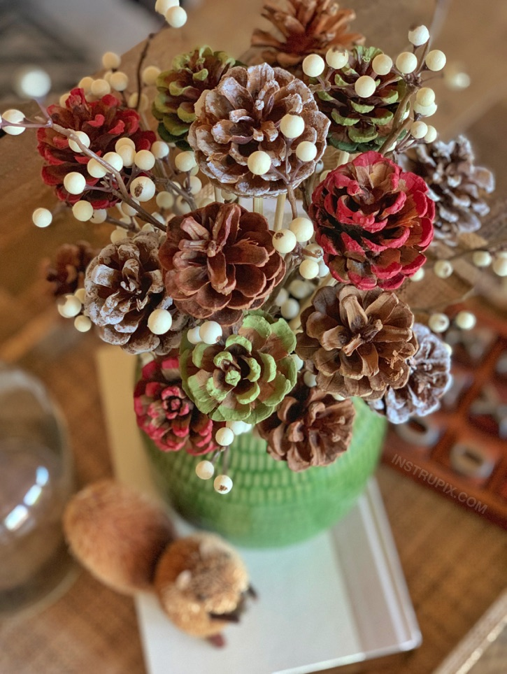 Easy Craft Idea For Adults: DIY Pinecone Flowers With Stems-- a lovely centerpiece idea for the holidays! Fall, Christmas, halloween or any time of the year. A home decor project you can make yourself.