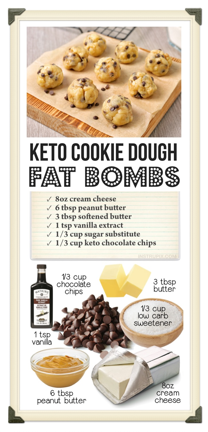 A Quick & Easy No-Bake Low Carb Dessert Recipe | This simple keto fat bomb recipe is made with just cream cheese, peanut butter, butter, vanilla extract, sugar free chocolate chips and Swerve (or the low carb sweetener of your choice). And let me tell you, they are absolutely divine! Just one of these cookie dough balls crushes your sweet cravings. If you like edible cookie dough, you're going to love these even more. Once frozen, they have a beautiful texture and they tend to last a lot longer