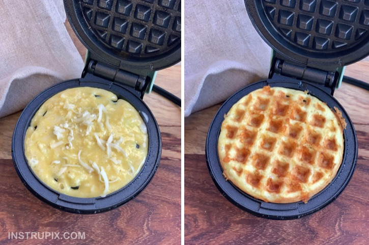 How to make keto waffles in a mini waffle maker with just 3 simple ingredients! Quick and easy recipe!