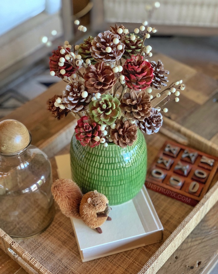 DIY Pinecone Flower Centerpiece Idea