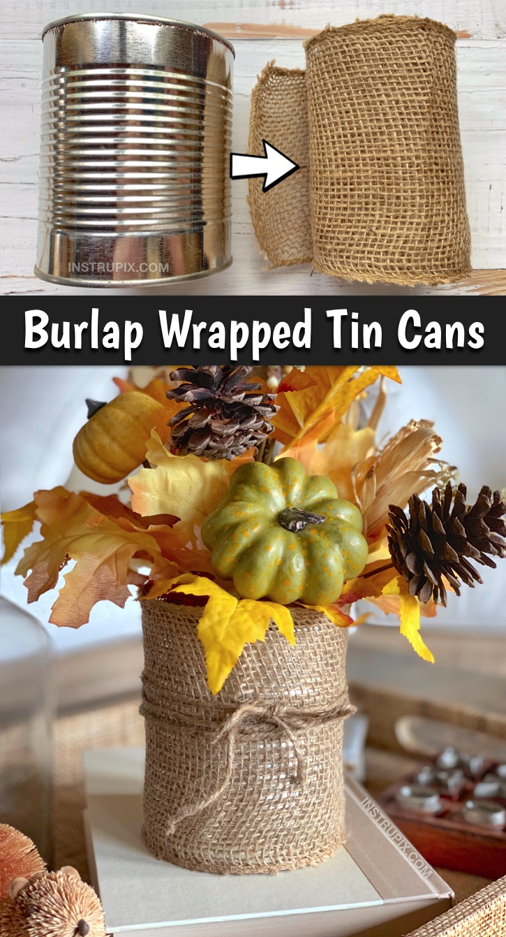 Easy DIY Tin Can Craft Idea: 6 ways to upcycle a tin can! These simple tin can projects are perfect for office organization, holiday displays and vases! This cheap tin can project can be made items you already have at home. No shopping required! #tincancrafts #upcycling #recyclingprojects #easycrafts #instrupix
