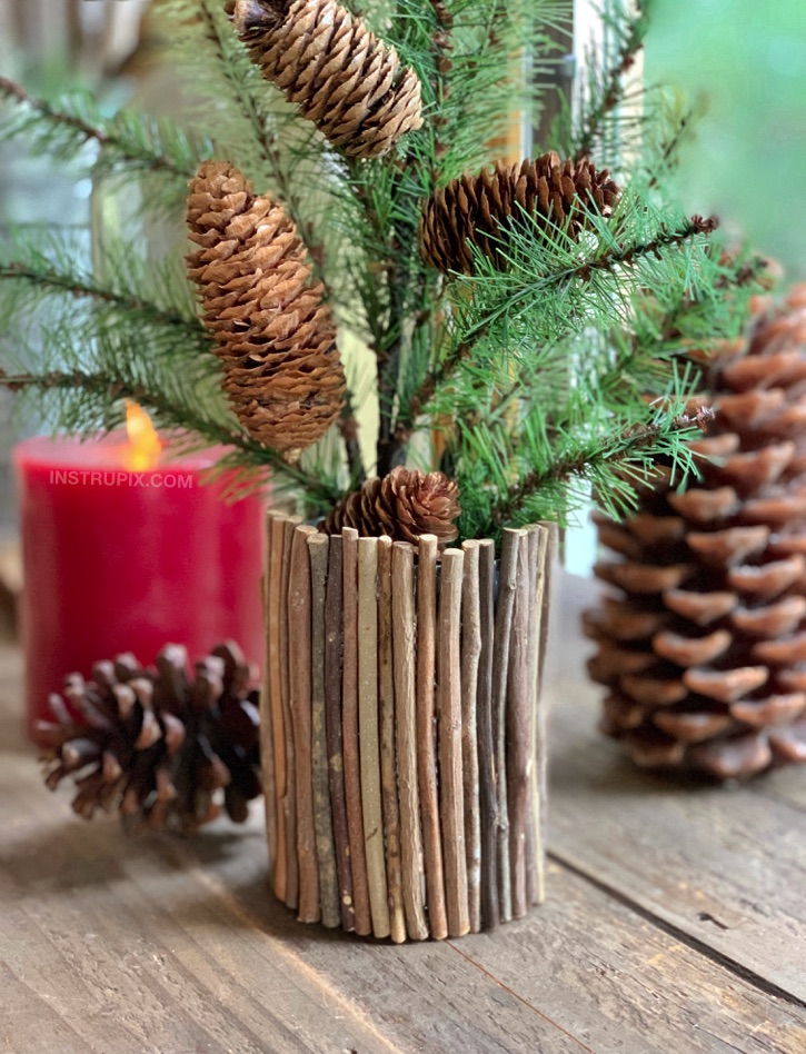 DIY Tin Can Christmas Craft Idea -- using sticks and hot glue!