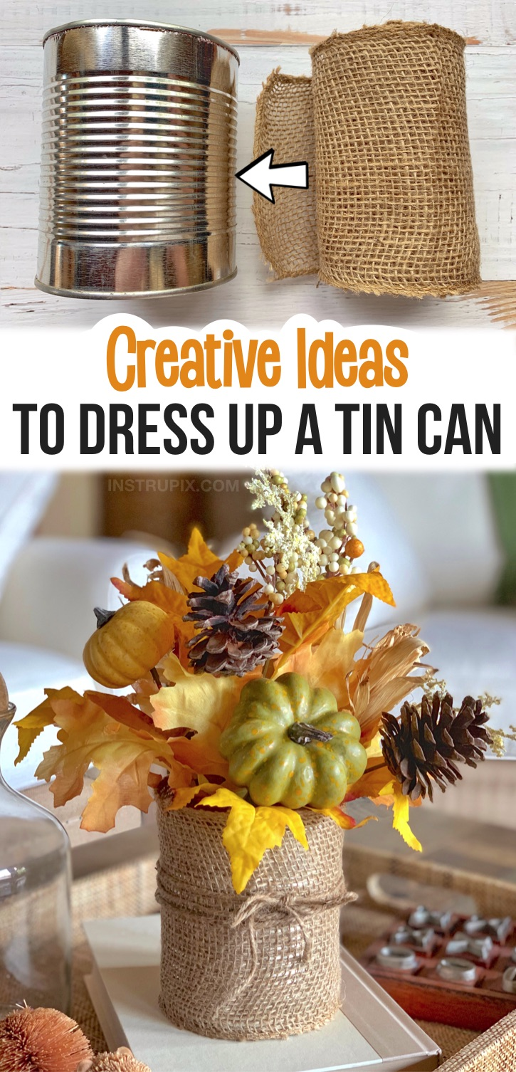 If you're looking for craft projects to make, try dressing up a tin can! There are so many fun and creative ways to make them pretty with things like ribbon, twine, sticks, print outs and more. They make for the perfect organizing containers for a craft room or office, as well as gorgeous holiday displays. This burlap wrapped tin can is perfect for holiday decorating-- Fall, Thanksgiving, Christmas or any holiday. This easy recycling craft is perfect for kids and adults to make! Teenagers, too.