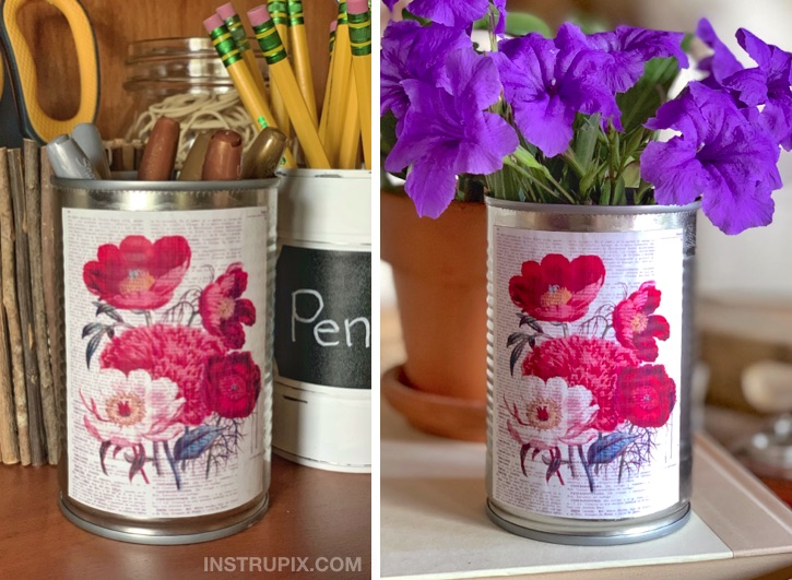 Mod Podge craft idea using tin cans. Cheap and easy project!