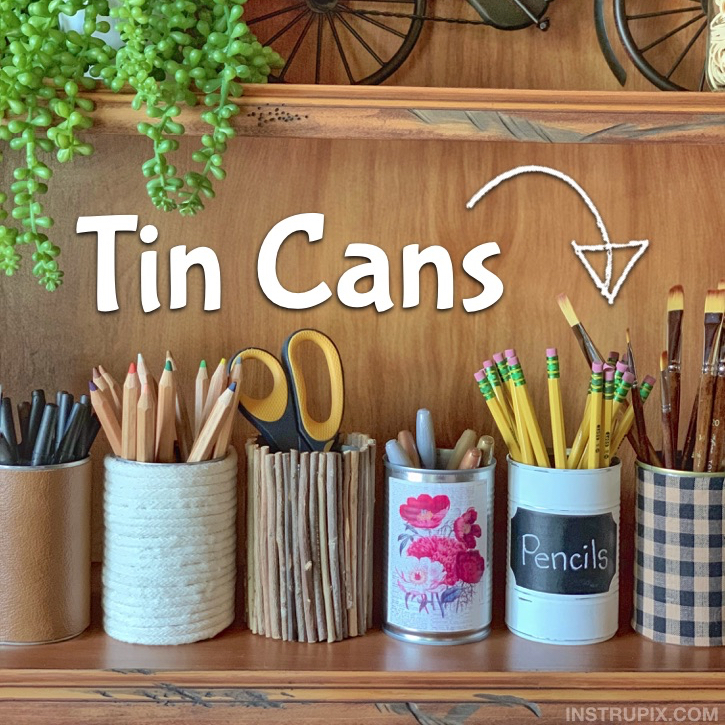 Easy Tin Can Makeover Ideas -- Perfect cheap and easy office organization idea for pencils, pens, craft supplies and more.