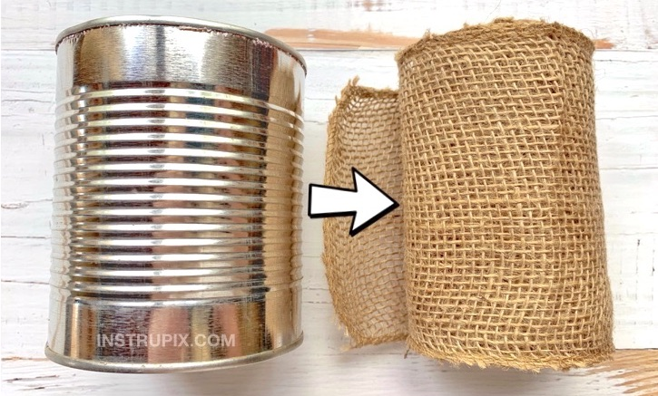 Tin Can and Burlap Makeover -- DIY home decoration idea for holidays and more.