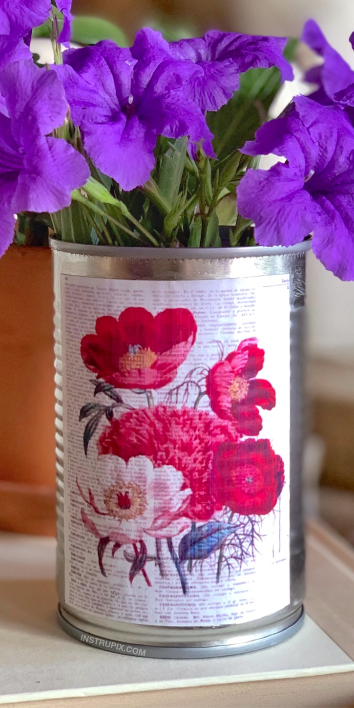 Looking for DIY recycled craft ideas? Try upcycling tin cans into little storage containers or vases. They are perfect for home decor and organization for an office or craft room. So simple and cheap to make! This is a creative project for adults to try. There are so many ways to dress them up. Use things like sticks, rope, paint, stickers, feathers, glitter, beads, rocks and more!