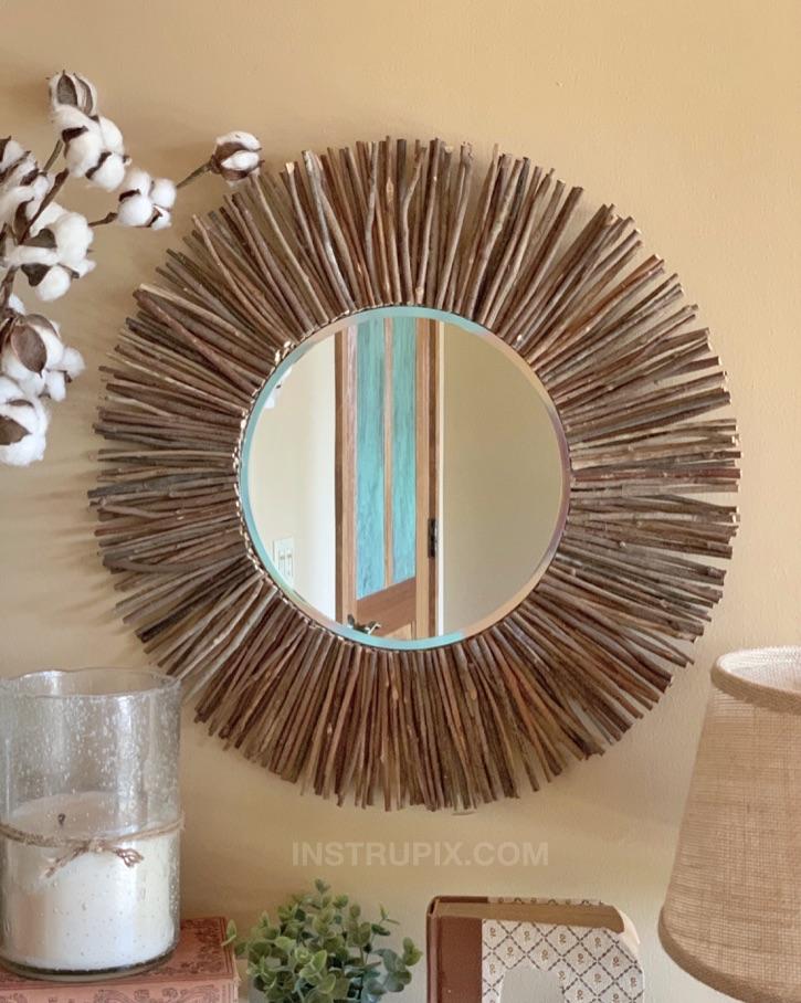 Easy Diy Stick Framed Mirror A, How To Make A Framed Mirror