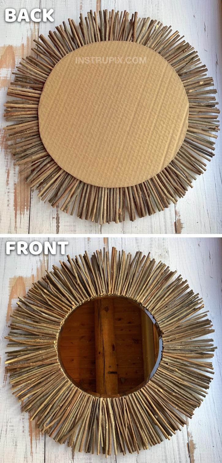DIY Stick Framed Starburst Mirror Tutorial -- A creative and easy craft idea for adults! This DIY home decor project is cheap, simple and fun to make! Just sticks, cardboard and hot glue.