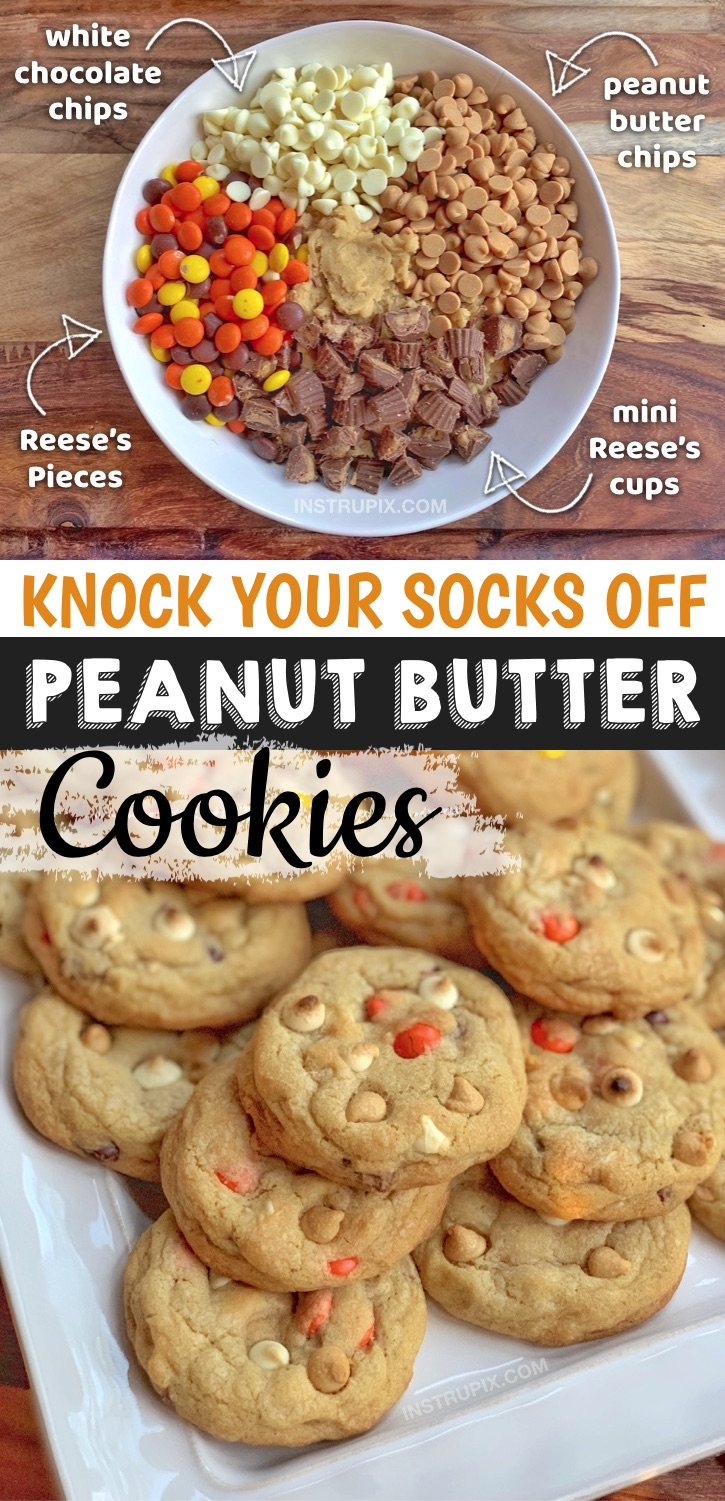 The best cookies in the world, seriously! These peanut butter cookies are quick, easy and simple to make with creative and unique ingredients. Great for the family or even to feed a crowd. Perfect for parties, potlucks and bake sales. Everyone will love this unique and delicious cookie recipe! Made with Reese's pieces, peanut butter cups, white chocolate chips and peanut butter chips (plus the best cookie dough recipe). #bestcookies #instrupix