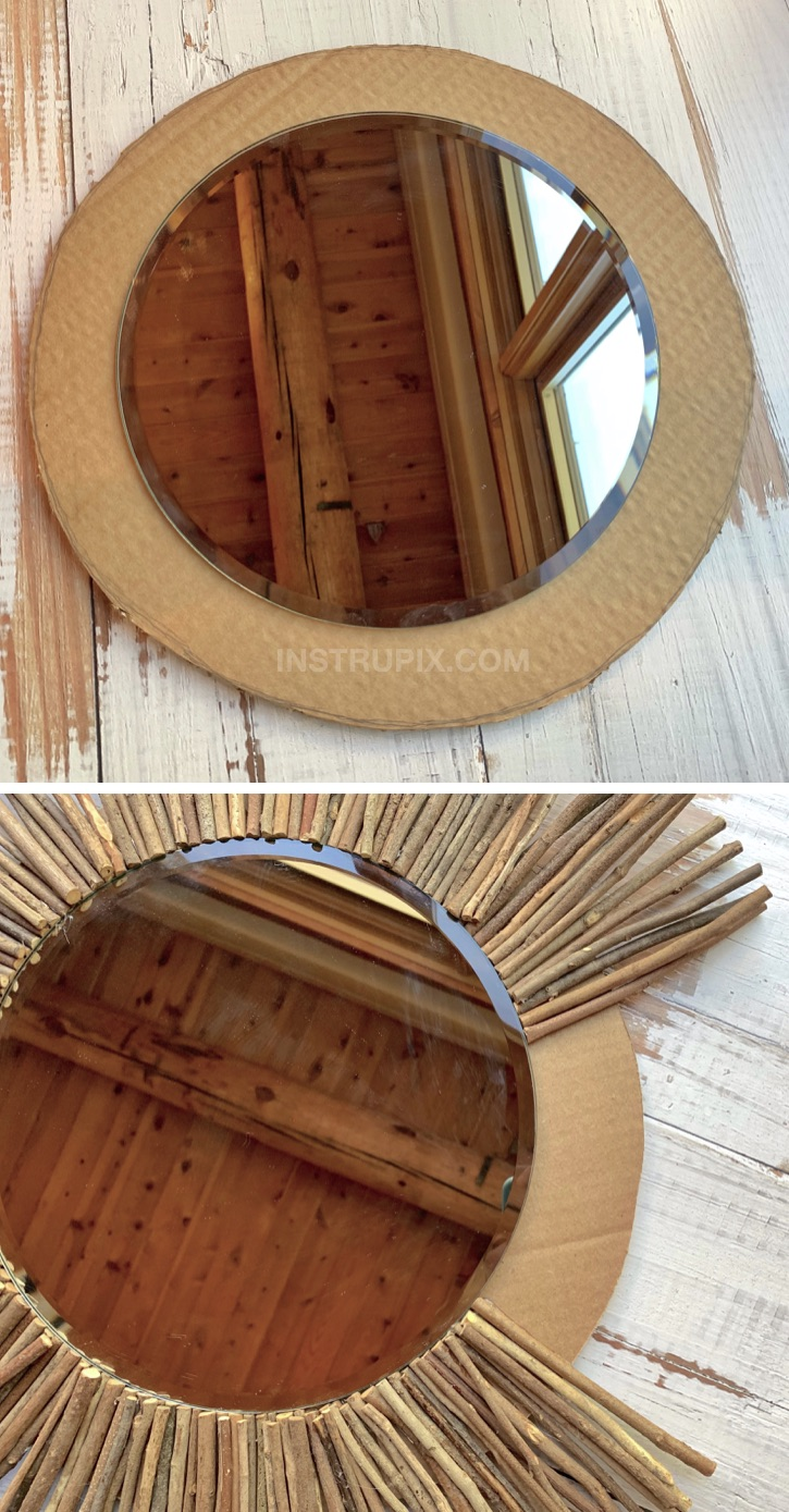 DIY Stick Framed Round Mirror Tutorial -- A cheap and easy DIY home decor project idea! Made with just cardboard, sticks and glue. Fabulous craft idea for adults to make.