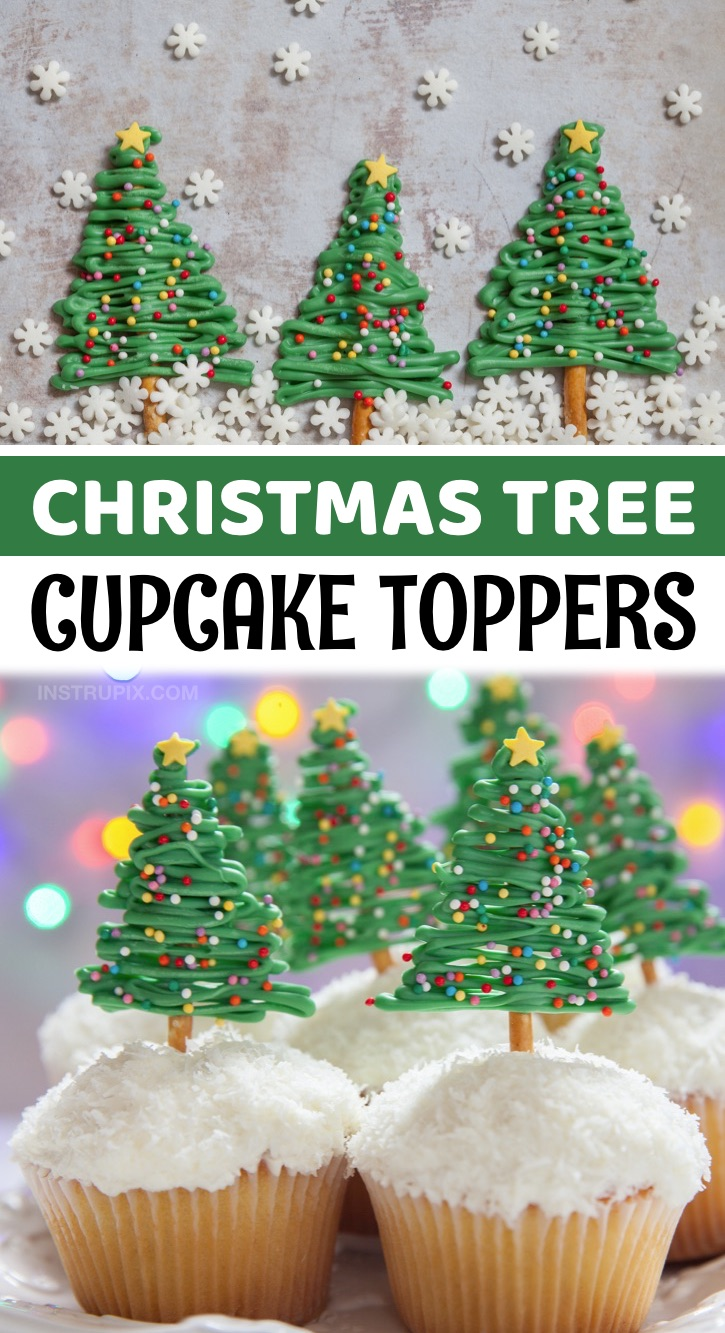 DIY Christmas Tree Cupcake Toppers - These Christmas cupcakes may look impressive, but they are quick and easy to make with just green candy melts, pretzel sticks and sprinkles! Place them in store-bought or homemade vanilla cupcakes. A simple make ahead holiday dessert. These are great for parties or family gatherings, and look so pretty on the dessert table. Use shredded coconut or sugar on the vanilla frosting to make it look like snow. If you're looking for quick and easy Christmas dessert ideas, these are a crowd pleaser.