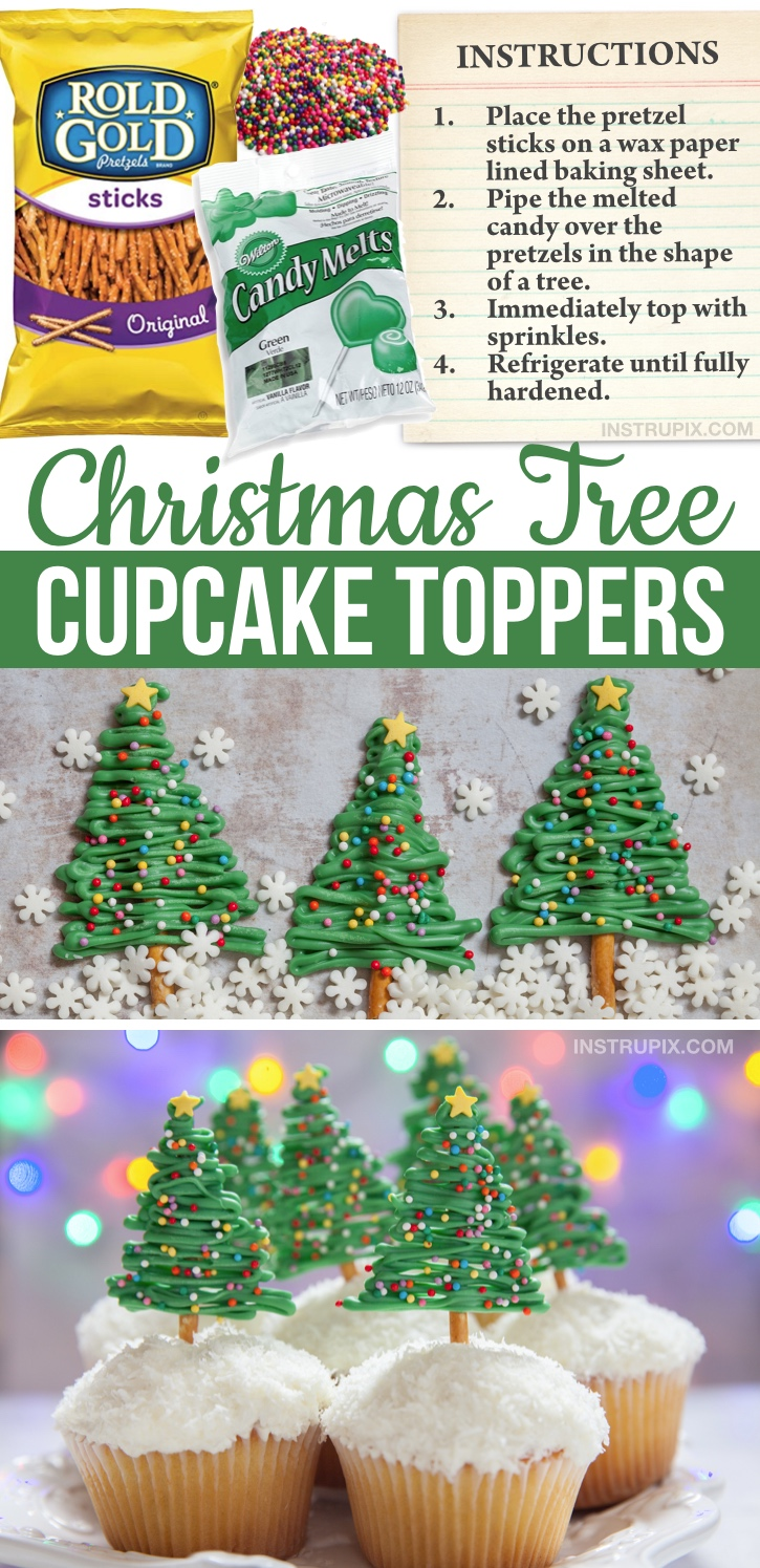 Looking for quick and easy Christmas cupcake ideas? These cute Christmas tree cupcakes are simple to make with just pretzels, candy melts and sprinkles. Great for any party! Kids and adults will LOVE them. A fun Christmas decoration idea for store-bought cupcakes. A lazy dessert idea that is super impressive! Perfect for any holiday xmas party table display. #instrupix #christmascupcakes